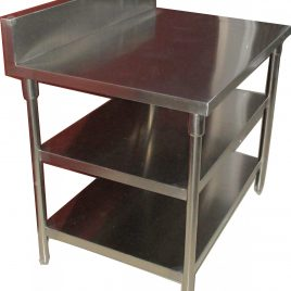 Work Table W/ 2 Under Shelf & Back Splash / Per Meter