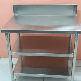 Work Table With 2 Under Shelf & Back Splash